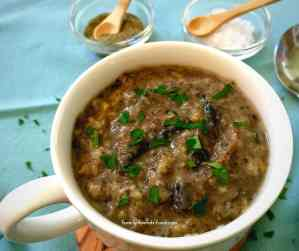 Rich delicious mushroom soup made into a meal with hearty freekah. Chunky and filling, this delicious vegan soup is real comfort food. A family favourite!