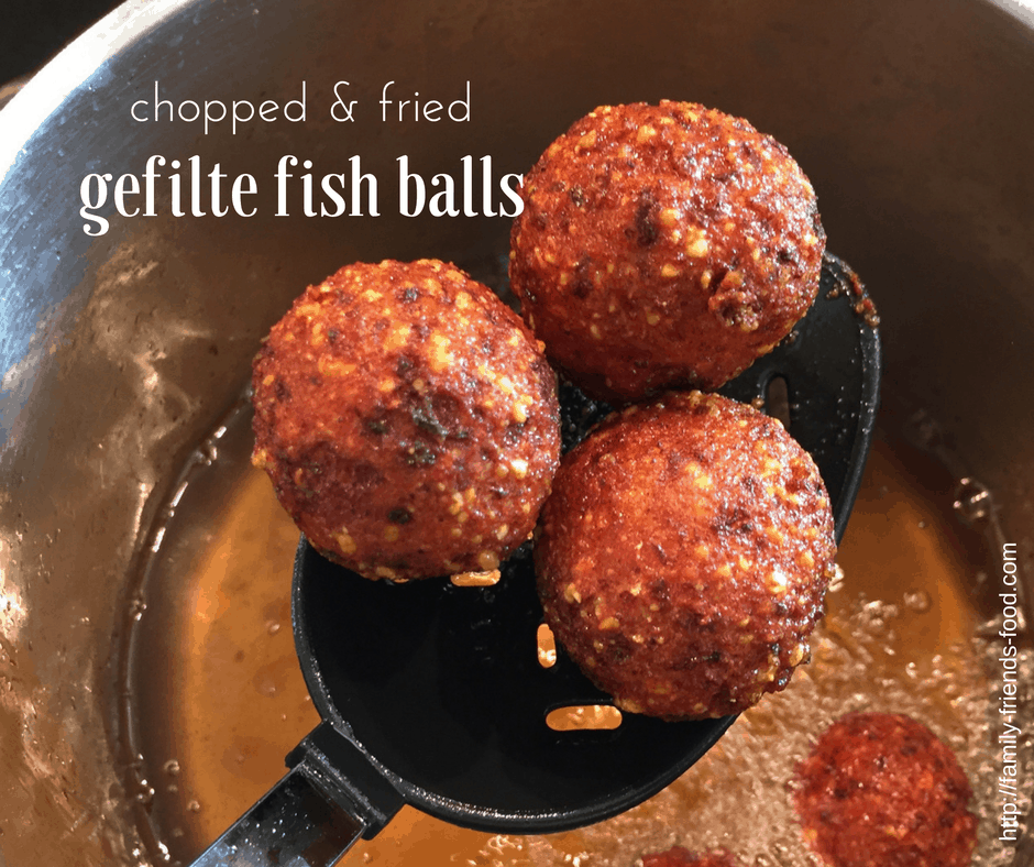 Chopped and fried gefilte fish balls