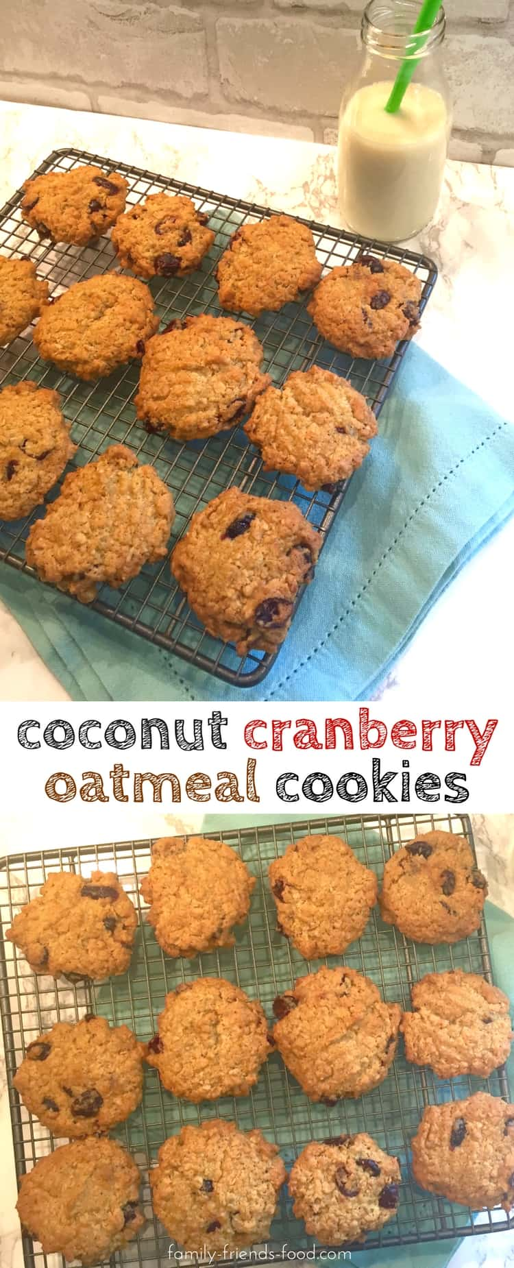Crisp on the outside, chewy on the inside, & with the delicious flavour of coconut and cranberries, these oatmeal cookies will soon be a family favourite!