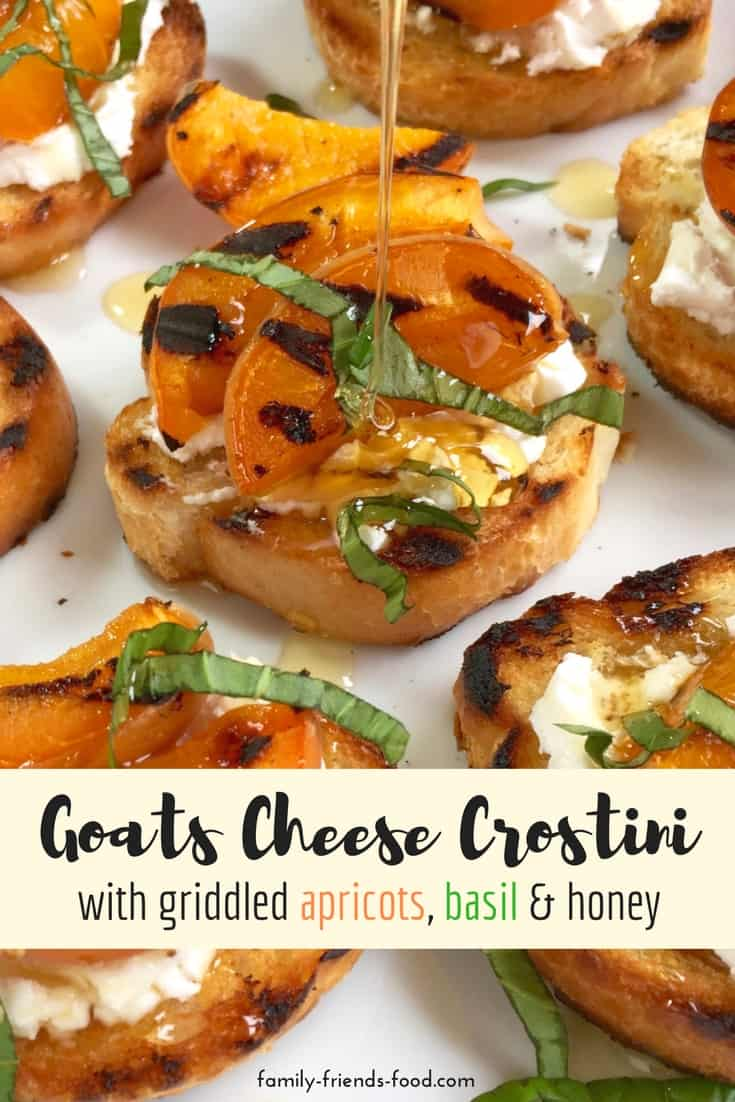 Crisply toasted baguette slices topped with tangy goats cheese, sweet char-grilled apricots, fragrant basil, and a drizzle of golden honey. Delicious!