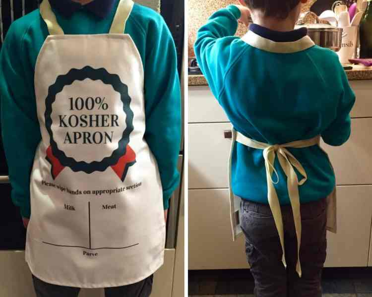 100% kosher aprons - Funny, cute, Jewish-inspired children's apron is '100% kosher'! Encourage your little chef into the kitchen with one of these adorable designs.