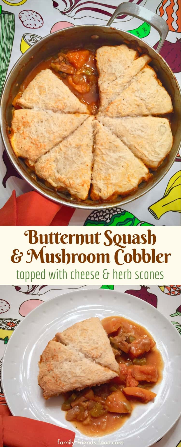 Chunky squash & chestnut mushrooms are cooked in a rich flavoursome veg-packed sauce and topped with fluffy cheese & herb scones to create a wonderful vegetarian family dinner. This savoury cobbler is comfort food at its finest.