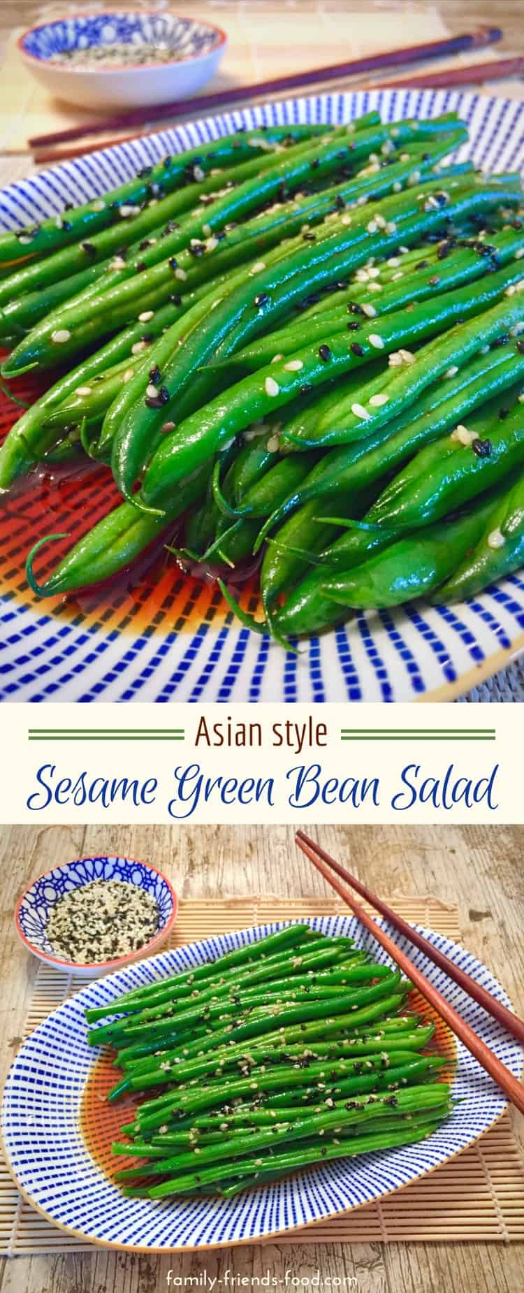 Crunchy sesame seeds cling to crisp-tender green beans, in a sweet, spicy Asian-inspired dressing. A simple and delicious salad, packed with vitamins and minerals. #parve #salad