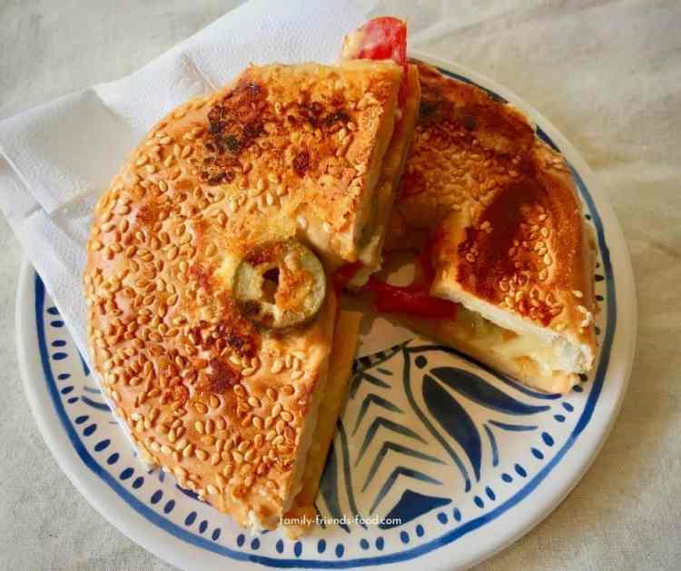 Overstuffed bagel toast