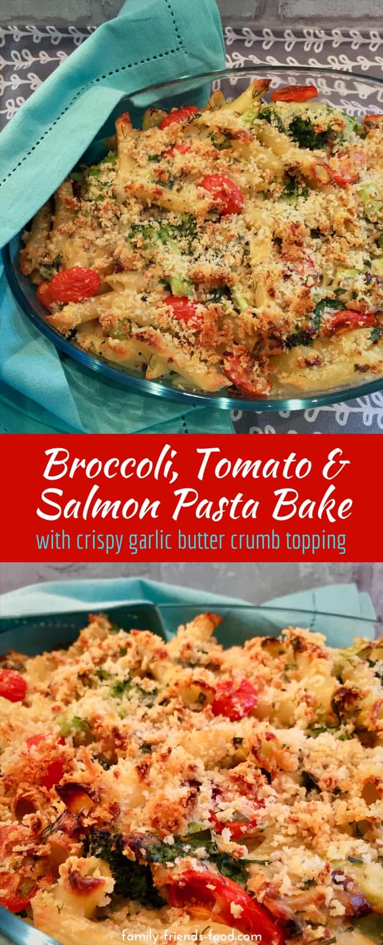 Full of fresh flavours and blanketed with a layer of crispy golden crumbs, this delicious salmon pasta bake is simple to make but fancy enough for company. A wonderful dairy dinner dish that's perfect for Spring or anytime!