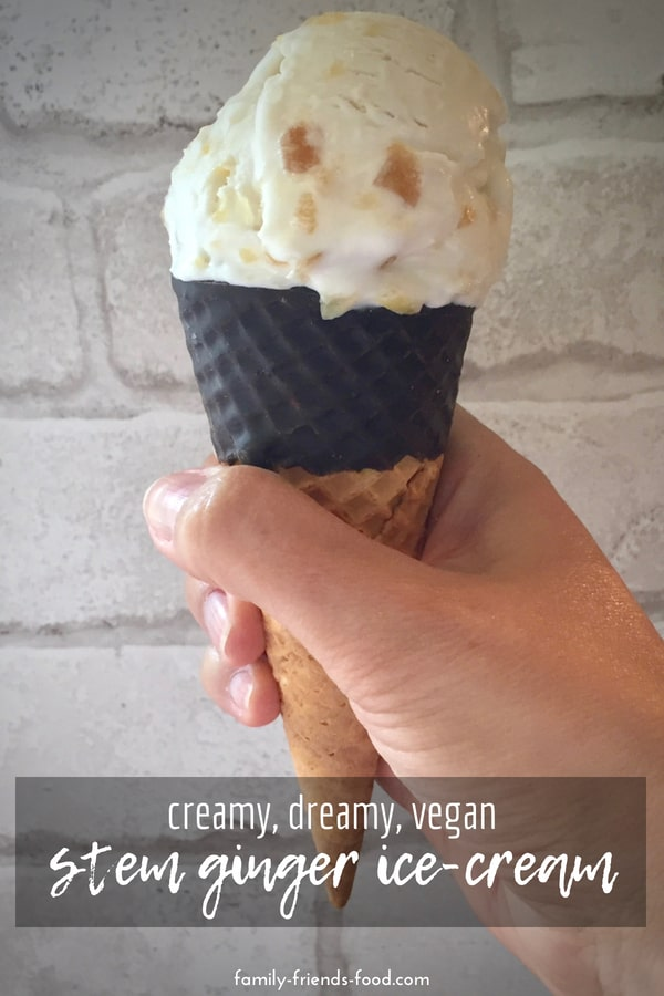 Creamy vegan stem ginger ice-cream makes a decadent dessert, and only has 4 ingredients! Serve in chocolate dipped cones for a grown-up treat.