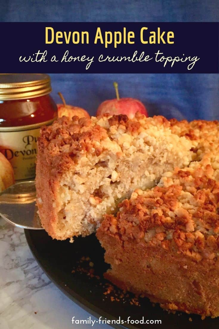 Devon apple cake is moist & fruity, packed with fresh apple pieces & flavoured with cider. Crunchy honey crumble makes it a great dessert or teatime treat.