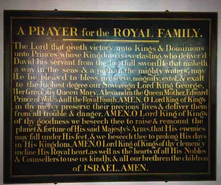 Plymouth shul prayer for the royal family.