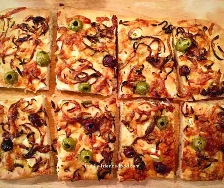 Loaded cheese, onion & olive breakfast focaccia.