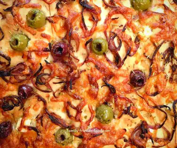Loaded cheese, onion & olive focaccia.