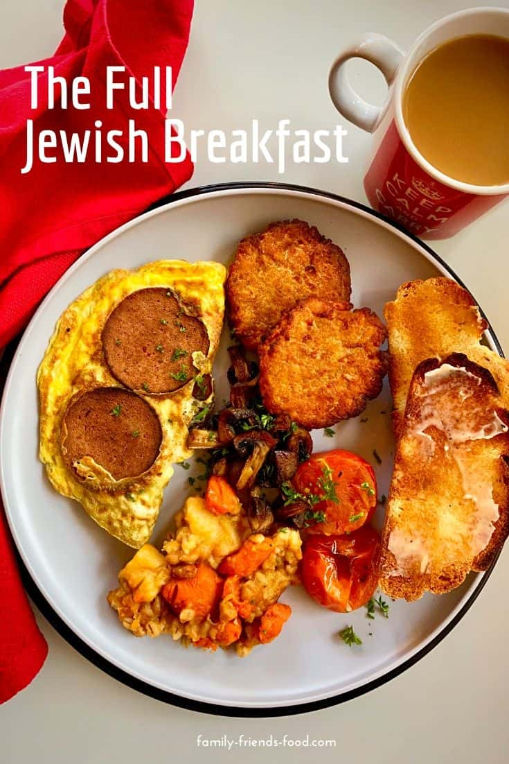 A loaded plateful of wurst and eggs, cholent, challah toast, latkes and a whole lot more, make up this delicious and filling Jewish breakfast or brunch.