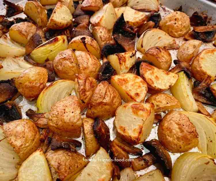 roasted baby potatoes, onions and mushrooms.