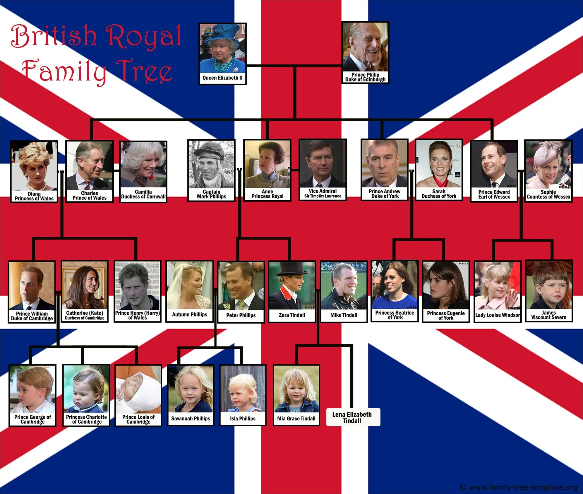 hight resolution of decorative british royal family tree with queen elizabeth ii and decendents