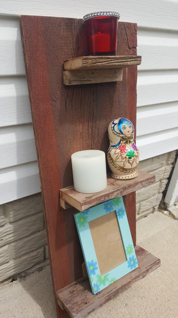 reclaimed barn wood shelf