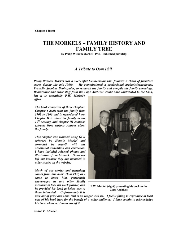 thumbnail of Chapter 1, Morkels Family History