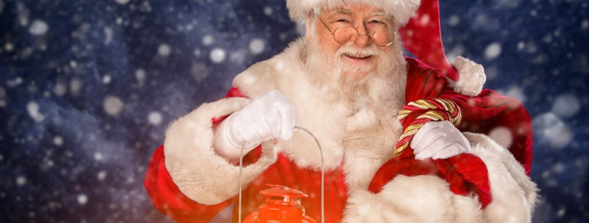 Pictures of Vintage Real Santa Claus carrying gift sack