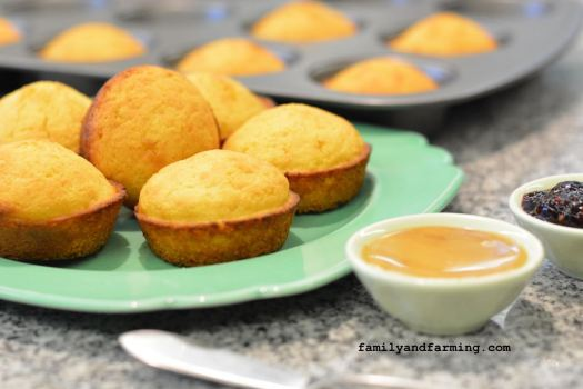 A photo of cornbread muffins with honey and jam