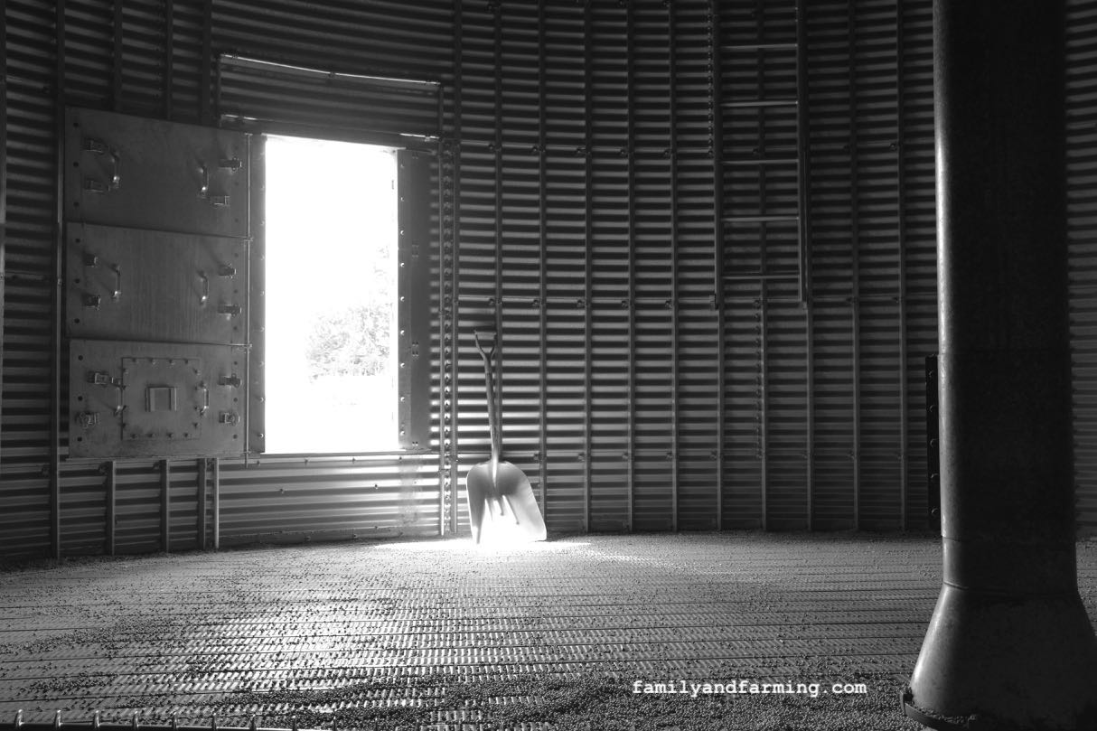 Interior of grain bin