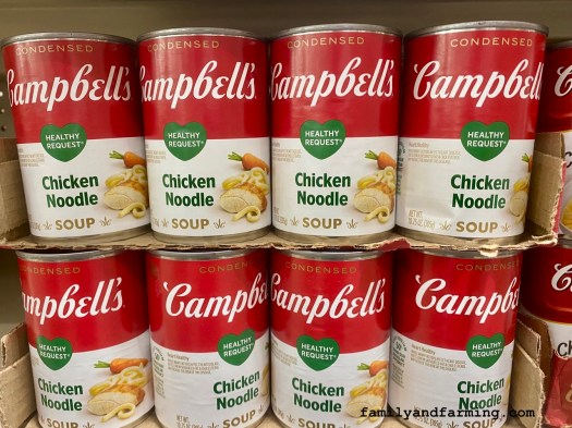 Cans of Chicken Noodle Soup on a Shelf