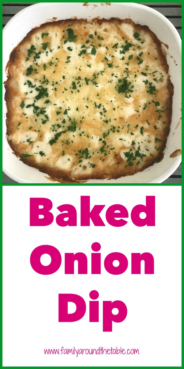 If you're looking for a dish for a pot luck, game day food, aka football food, look no further. This baked onion dip comes together quickly and bakes while you prepare other dishes.