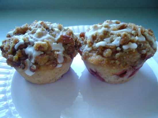 Strawberry Muffins with Streusel Topping for breakfast or a mid-morning snack.
