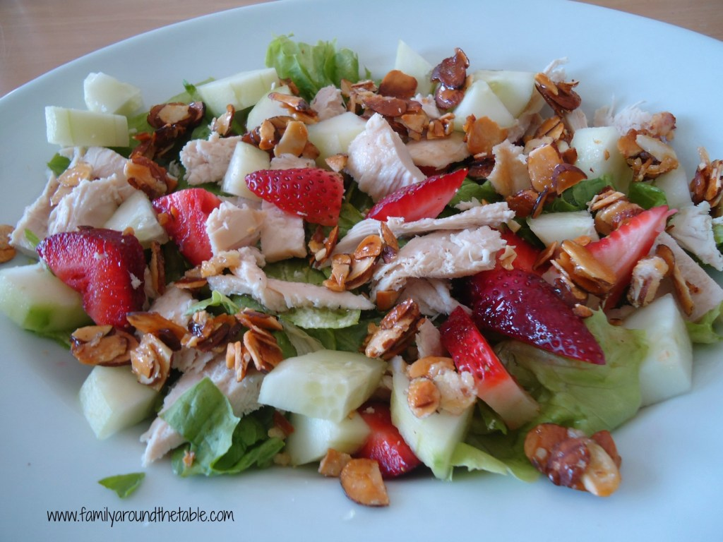 Strawberry Salad with chicken and candied almonds.