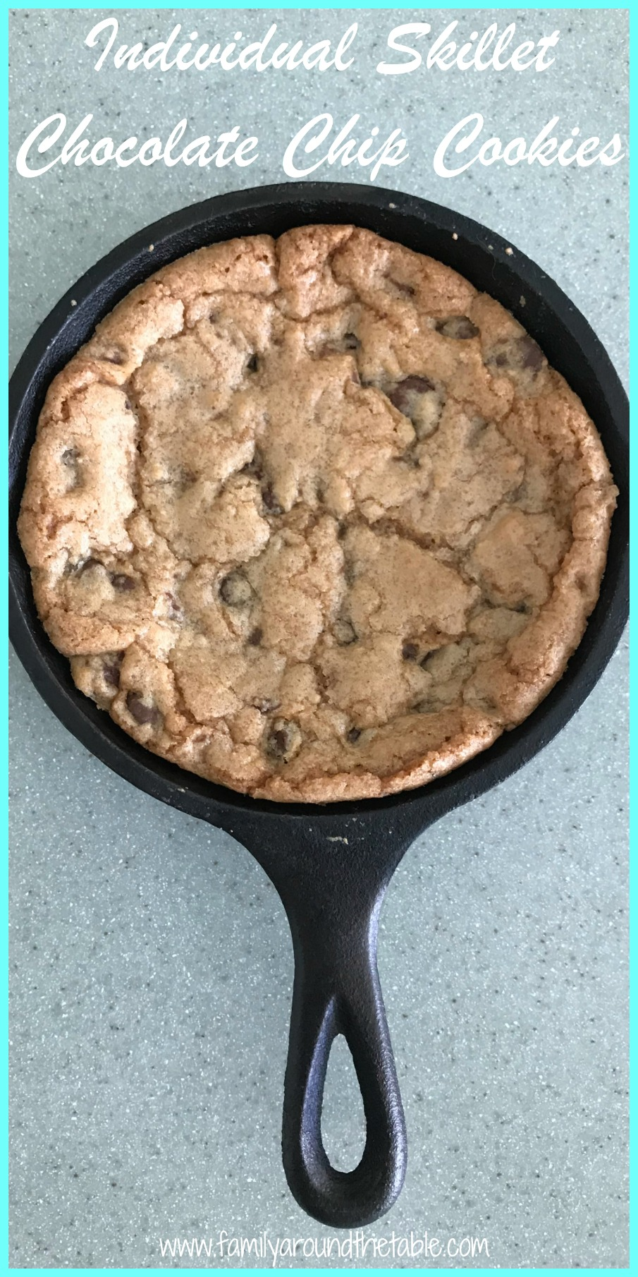 Individual skillet chocolate chip cookies are a fun dessert for family and friends.