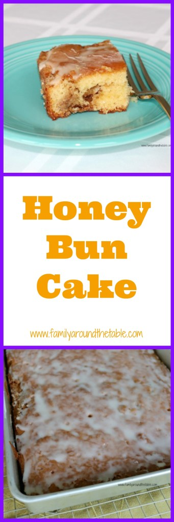 Honey bun cake warm from the oven, freshly glazed. Just grab a cup of coffee or glass of milk!