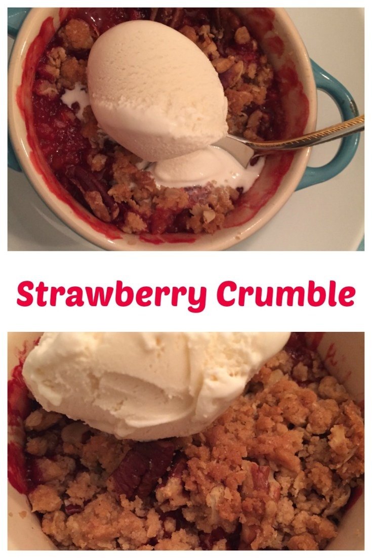 Individual strawberry crumbles are a fun dessert for a dinner party.