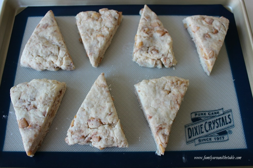 Apple cinnamon scones ready for the oven.