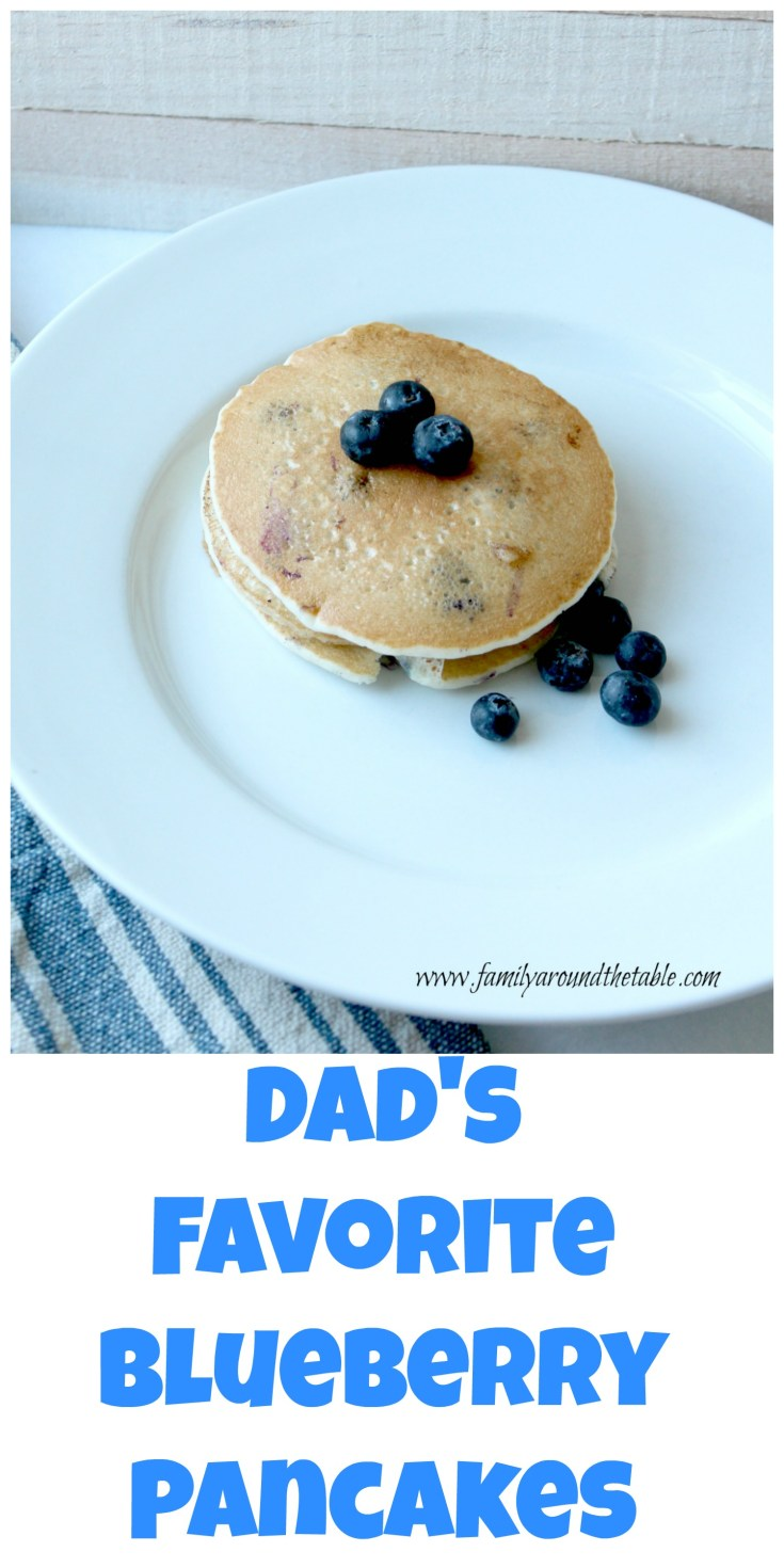 Dad's favorite blueberry pancakes are fluffy and delicious.