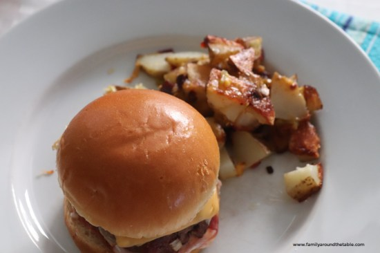 Bacon Cheddar Potatoes are perfect alongside a burger.