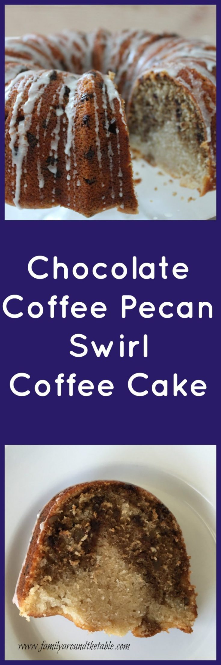 Start the day with a slice of chocolate coffee pecan swirl coffee cake and a cup coffee.