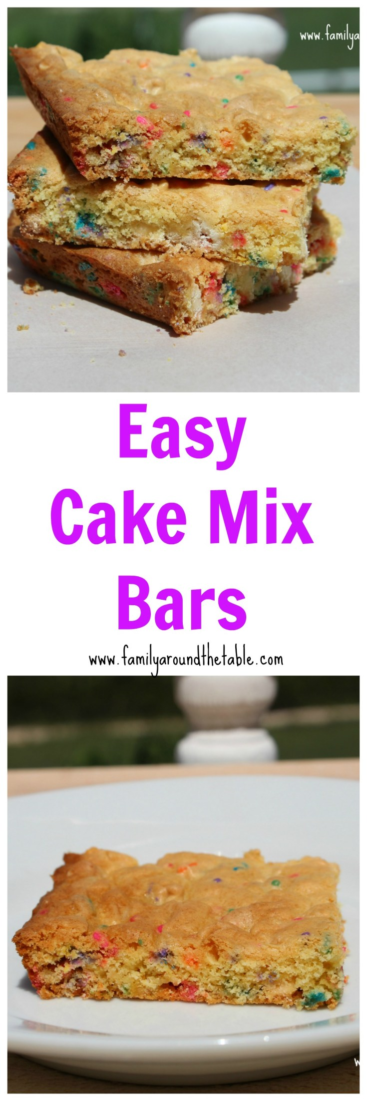 Easy cake mix bars are perfect after school treats. Great for potluck parties too!