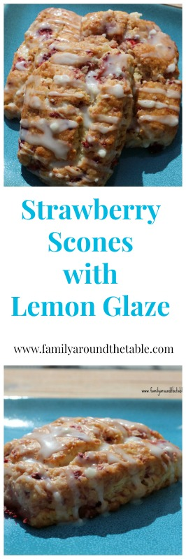 A sweet strawberry scone with lemon glaze is a nice morning treat with a cup of coffee.