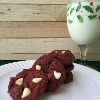 Red velvet white chip cookies look lovely on a holiday dessert tray.