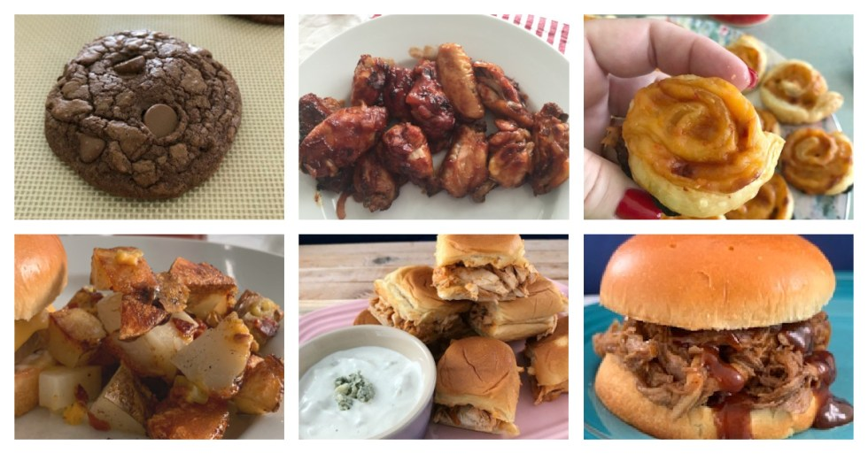 A photo collage of game day food.
