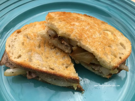 Roast beef, brie and caramelized onion grilled cheese is a great weekend lunch.