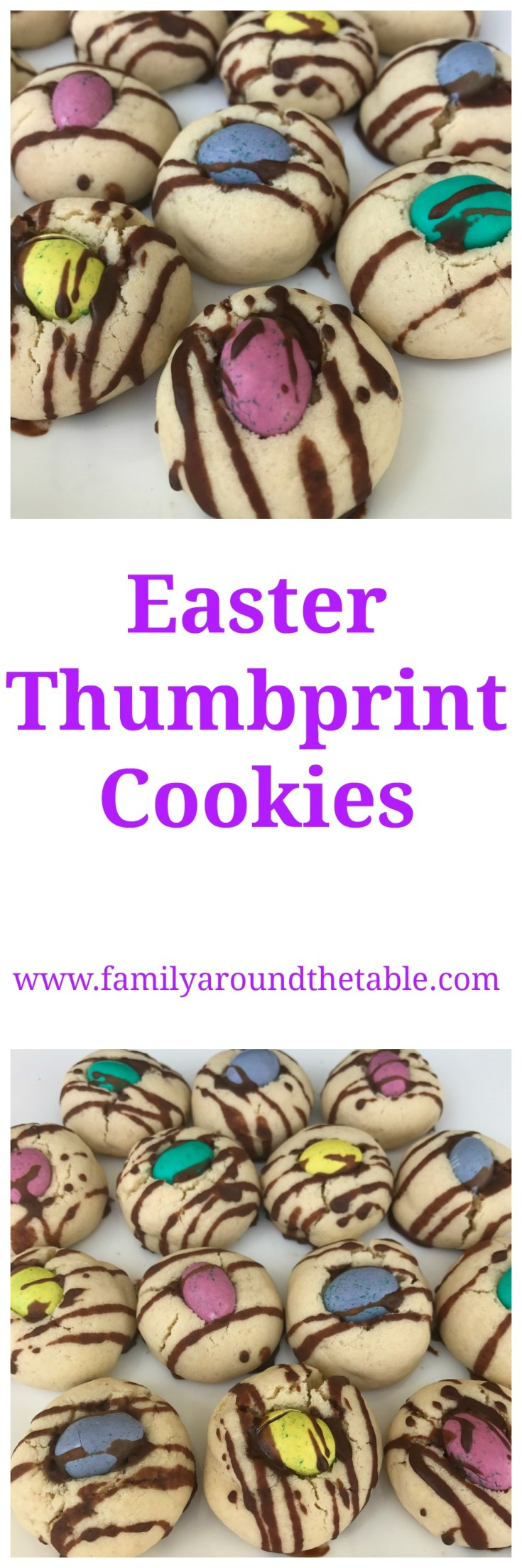 A chocolate drizzle on these Easter thumbprint cookies takes them over the top!