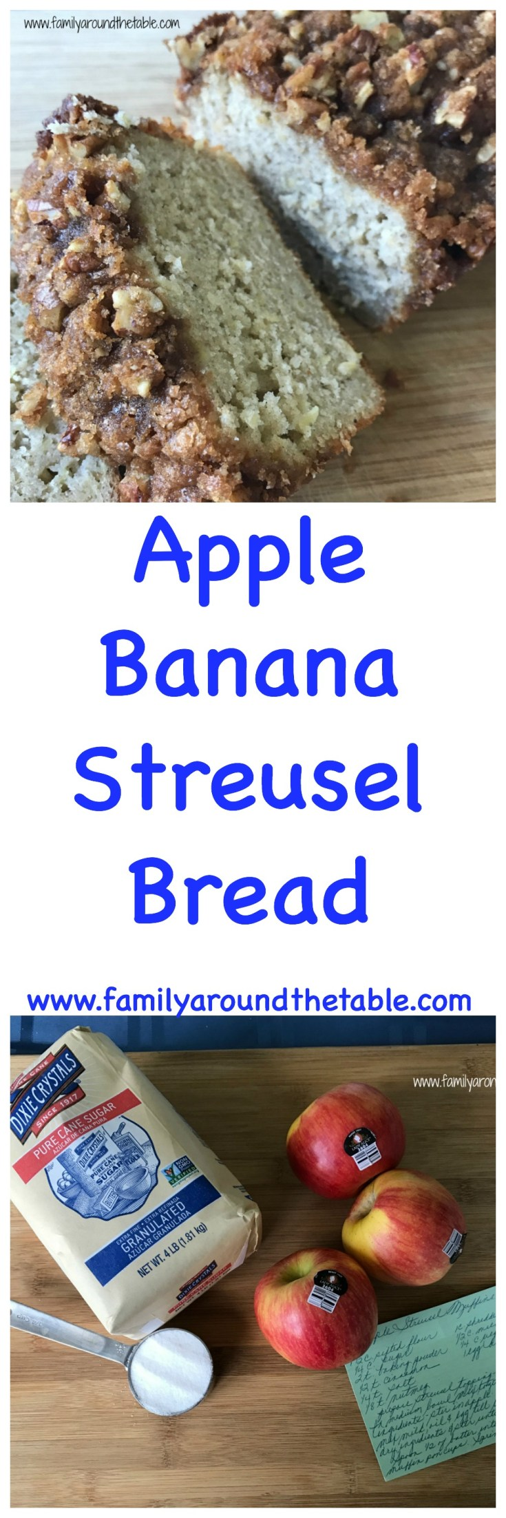 Wake up to Apple Banana Streusel Bread.