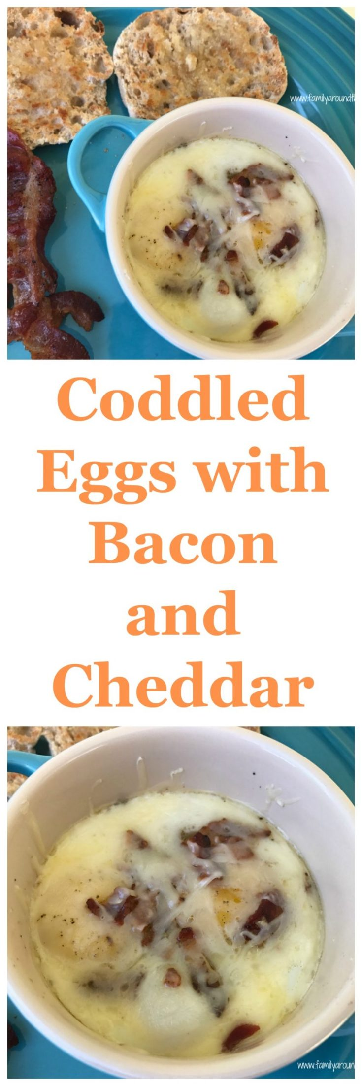 Coddled eggs with bacon and cheddar are a great Sunday morning breakfast.