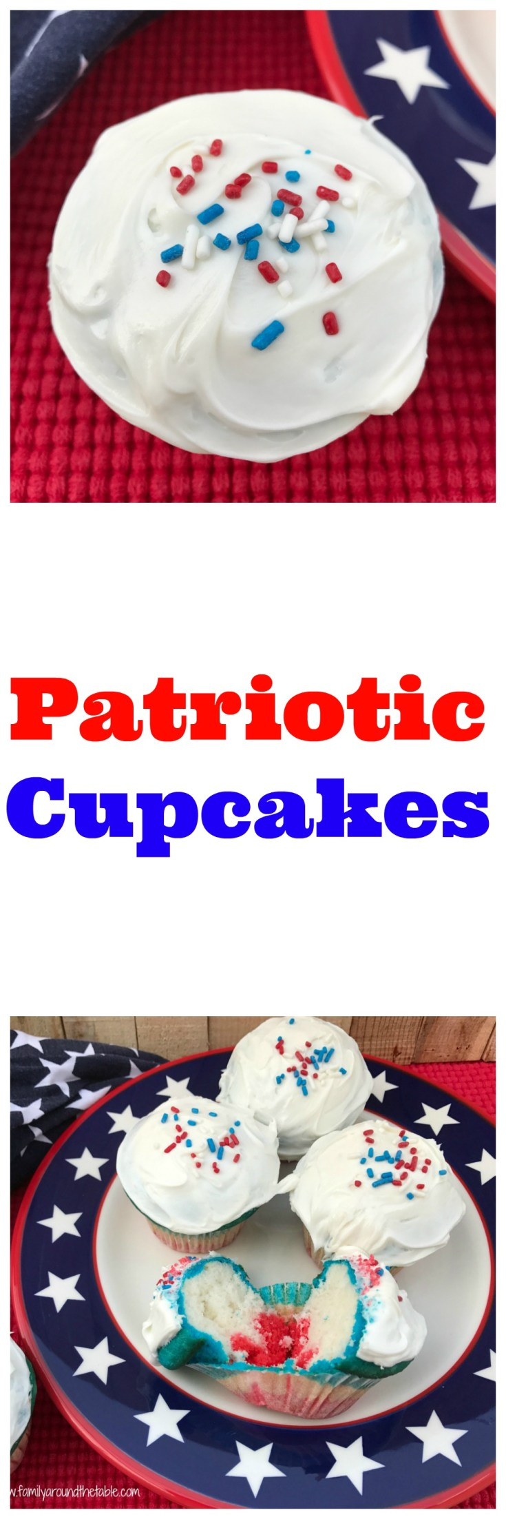 Patriotic cupcakes are perfect for a July 4th celebration.