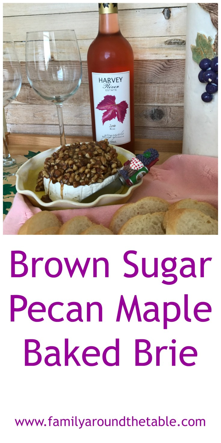 Brown Sugar Pecan Maple Baked Brie pairs nicely with Harvey River Rose from Australia. A nice Sunday appetizer.