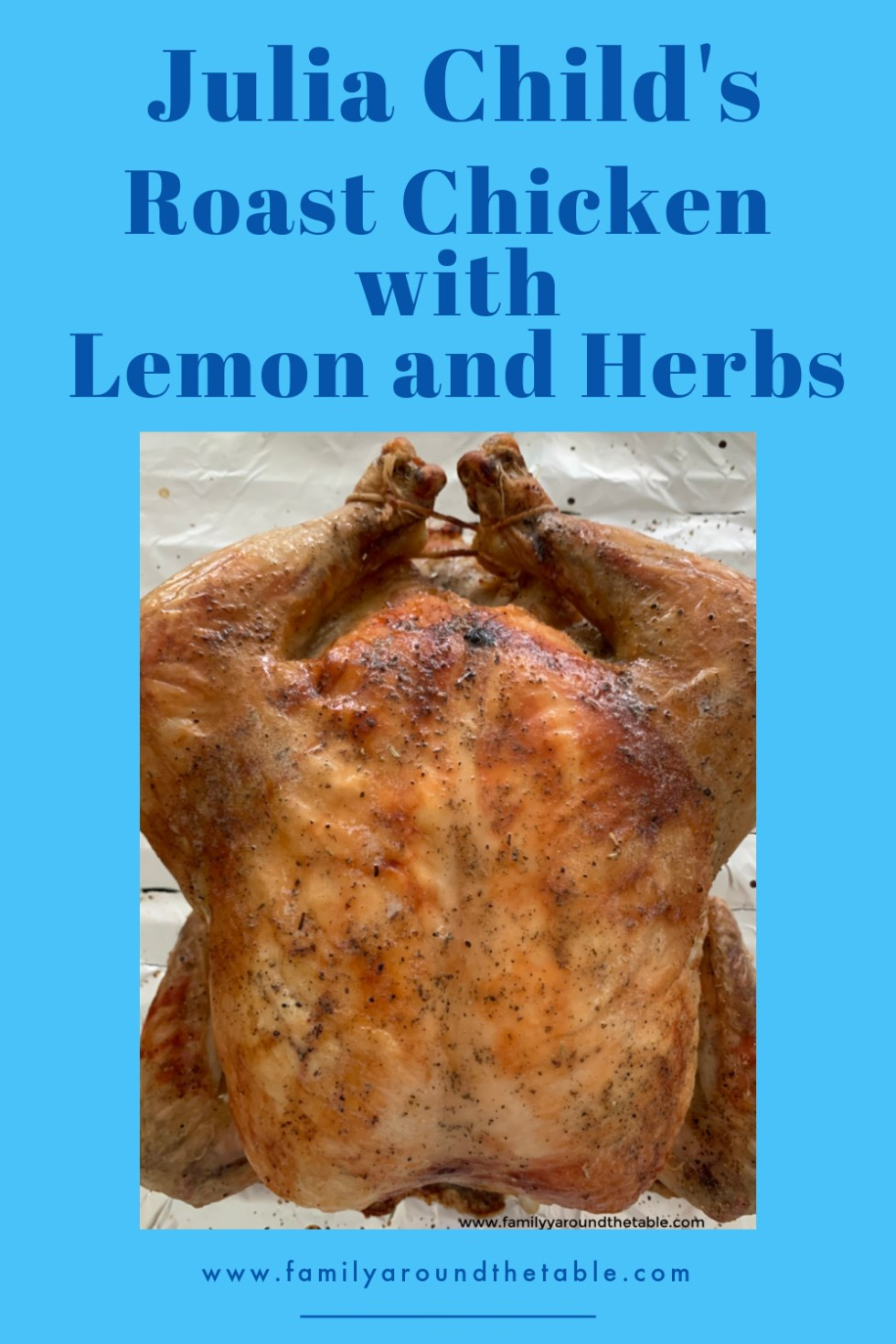 Roast Chicken with Lemon and Herbs Pinterest image