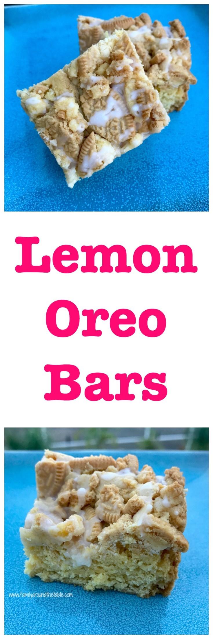 Lemon Oreo bars are bursting with lemon flavor.