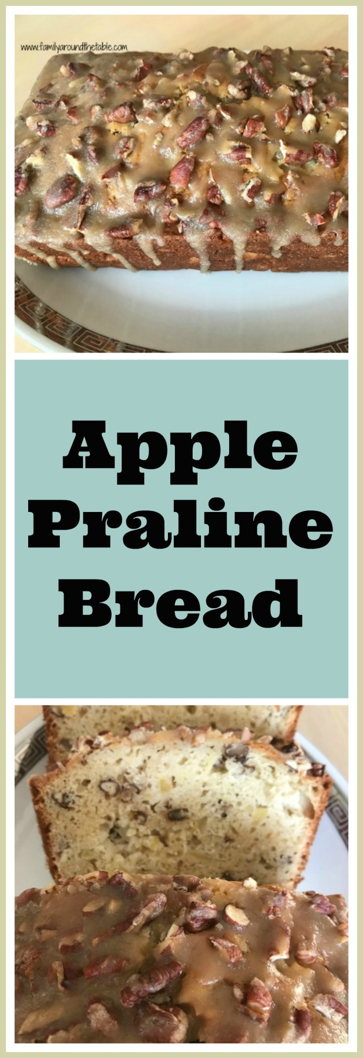 Start your day with a cup of coffee and a slice of apple praline bread.