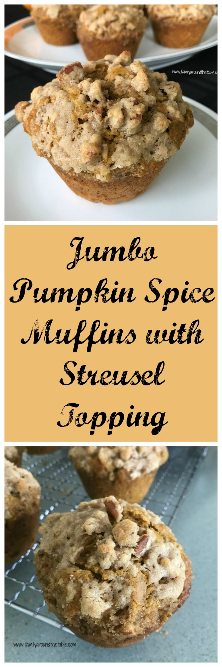 Hooray for pumpkin season.  Wake up to Jumbo Pumpkin Spice Muffins with Streusel Topping.