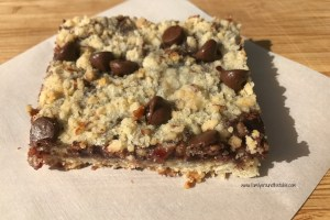 Chocolate Chip Raspberry Pecan Bars #Choctoberfest