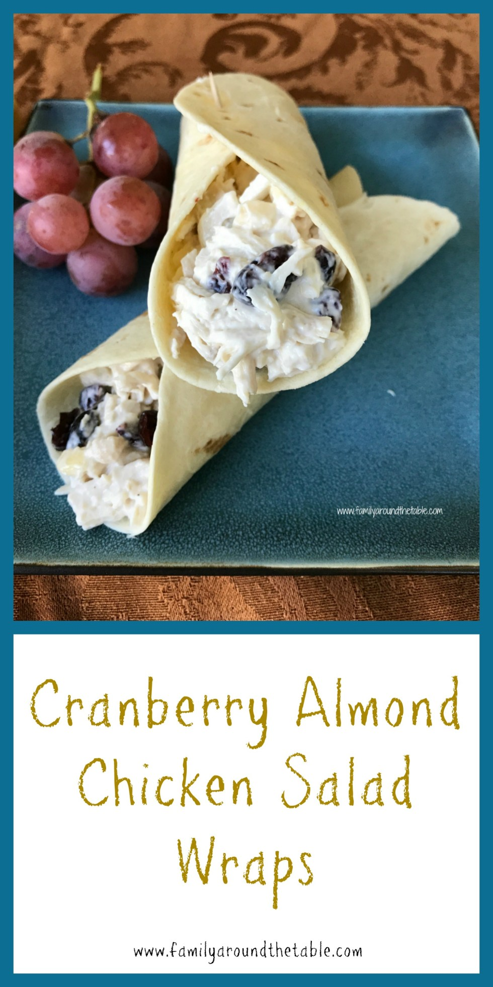 Cranberry almond chicken salad wrap.