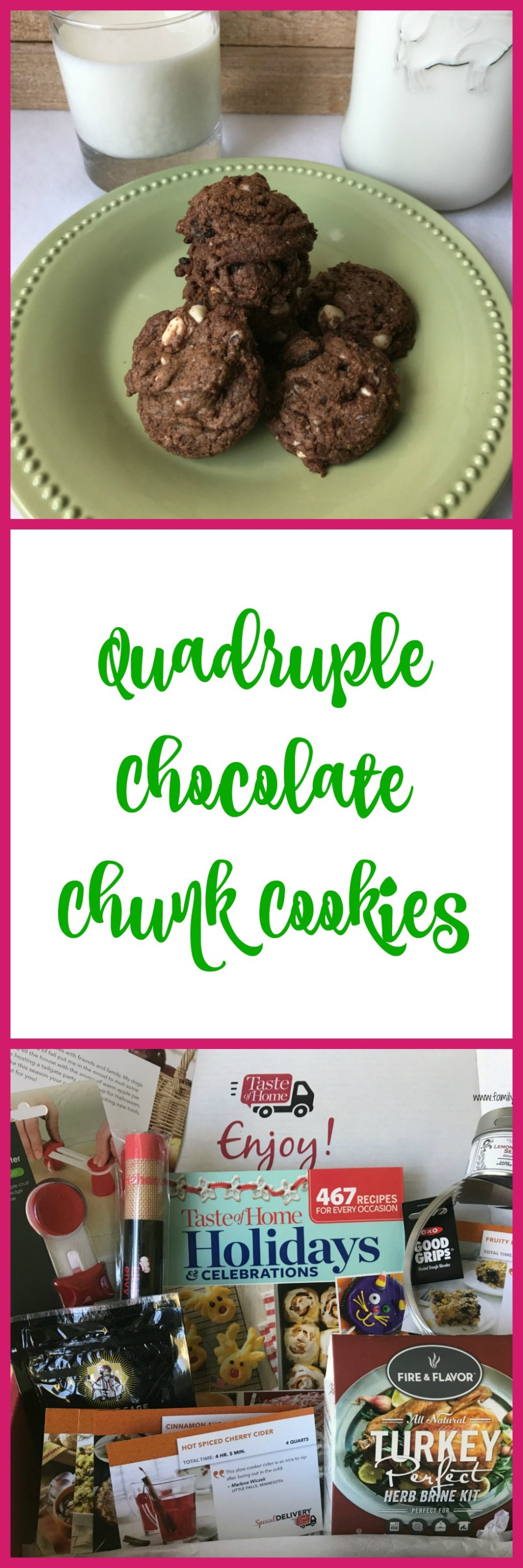 Quadruple Chocolate Chunk cookies are great for a lunchbox treat.